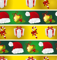 New year pattern with santa hat gift christmas vector