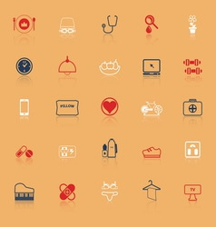 Quality life line icons with reflect vector