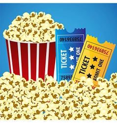 Pop corn with tickets cine background ilustracin vector