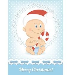 Funny christmas baby boy vector