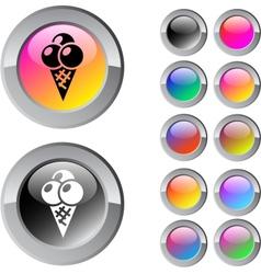 Icecream multicolor round button vector