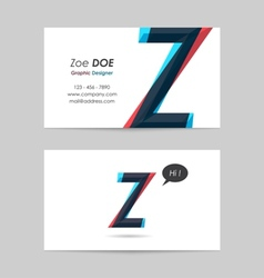 Business card template - letter z vector