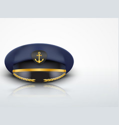 Light background captain peaked cap with gold vector