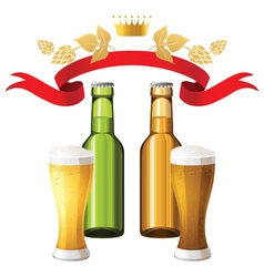 Dark and light beer background vector