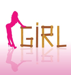 Sexy and hot girl in pink silhouette vector