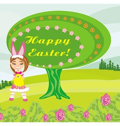 Girl in bunny costume- funny easter design vector