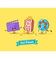 Funny cartoon funny popcorn clapboard and vector