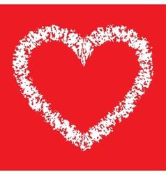 White hand drawn thick contour grunge heart logo vector