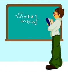 Student with chalkboard vector
