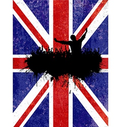 Silhouette of a party crowd on a grunge union jack vector