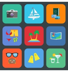 Flat travel or vacation icon set vector