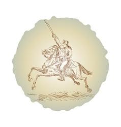 American revolution soldier riding horse vector