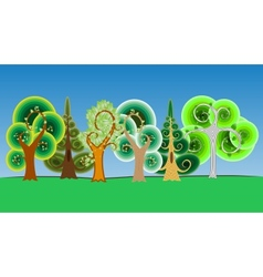 Collection of cartoon tree in vector