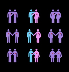 Modern couples pictograms vector