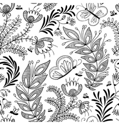Doodle floral seamless vector