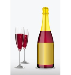 Wine glass with bottle vector
