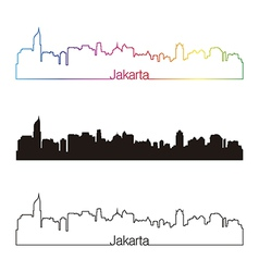 Jakarta skyline linear style with rainbow vector
