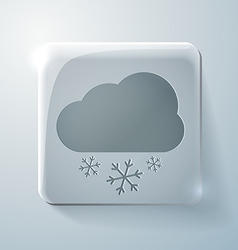 Cloud snow glass square icon with highlights vector