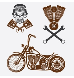 Bikers theme labels with motorbikeskullengine and vector