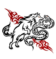 The wolf fight with snake tattoos on gray backgro vector