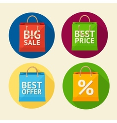 Paper bag sale icon set flat design vector