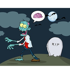 Blue cartoon zombie walking with hands in night vector