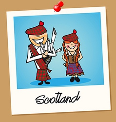 Scotland travel polaroid people vector