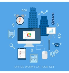 Office work flat icon set vector