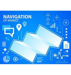 Bright navigate map on blue background for b vector