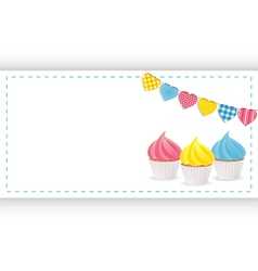 Cupcake background panel and bunting vector