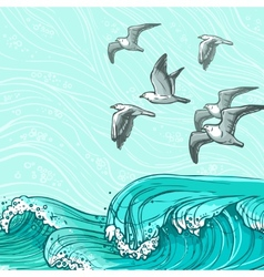 Sea waves background vector