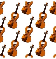 Violin cartoon character seamless pattern vector