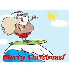 Surfing santa cartoon vector