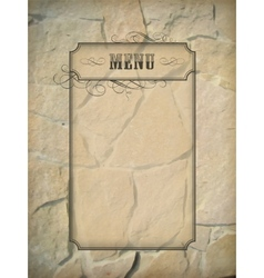Vintage menu frame stone wall vector