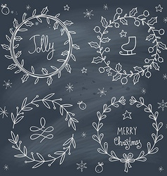 Christmas wreaths set on blackboard vector