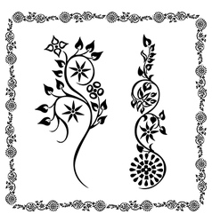Frame black two floral ornament vector