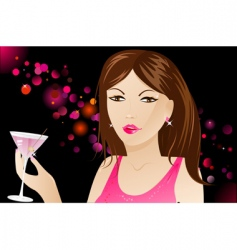 Woman with martini in nightclub vector