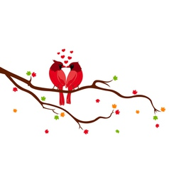 Love birds on tree branch vector