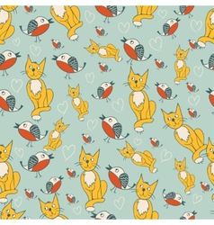 Seamless pattern with romantic kitty and birds vector