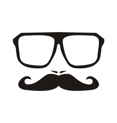 Men face with mustache and black hipster glasses vector