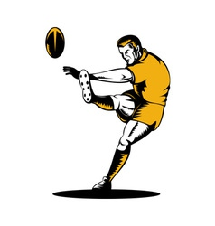 Rugby player kicking the ball vector