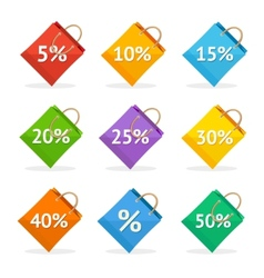 Colorful paper bag sale icon set flat vector
