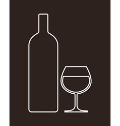 Bottle and glass of alcohol vector