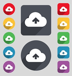 Upload from cloud icon sign a set of 12 colored vector