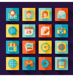Icons web and mobile applications in flat design vector