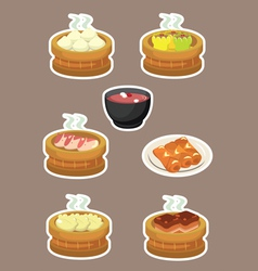 Delicious dim sum chinese asian food vector