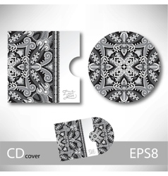 Cd cover design template with grey ukrainian vector