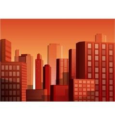 Sunset cityscape background vector