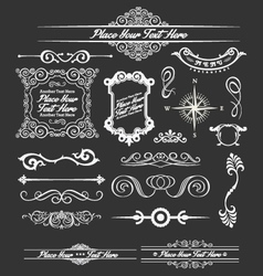 Vintage floral decorative border and lines element vector