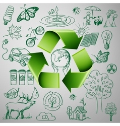 Recycle symbol and ecology doodle icons vector